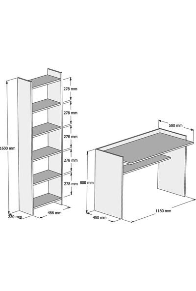 Bimossa Mahpeyker Beyaz Çalışma Masası Kitaplıklı 118 cm T7040