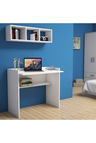 Bimossa Nakşidil Beyaz Çalışma Masası Raflı 90 cm V1040