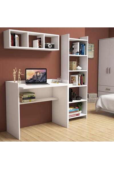 Bimossa Mahidevran Beyaz Çalışma Masası Kitaplık Raflı 90 cm U2040