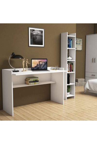 Bimossa Gülbahar Beyaz Çalışma Masası Kitaplıklı 118 cm T6040