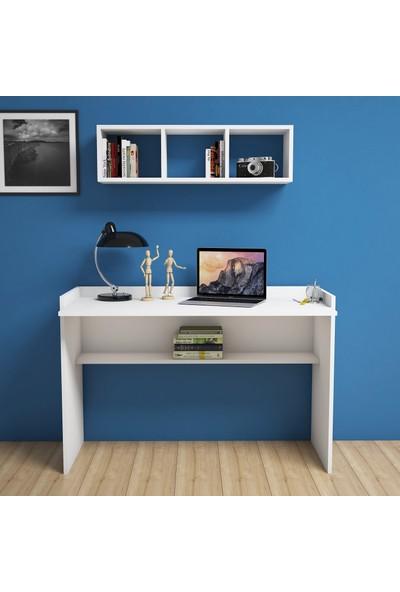 Bimossa Firuze Beyaz Çalışma Masası Raflı 118 cm V6040