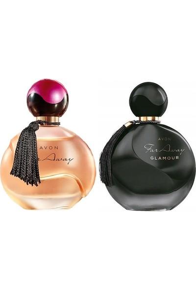 Avon Far Away Bayan Parfüm 50 Ml+Avon Far Away Glamour 2 Li Set