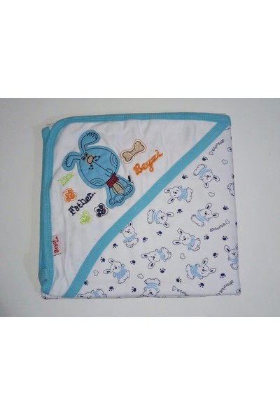 Beyzi Bebe Çift Katlı Nakışlı Şapkalı Bebek Battaniyesi