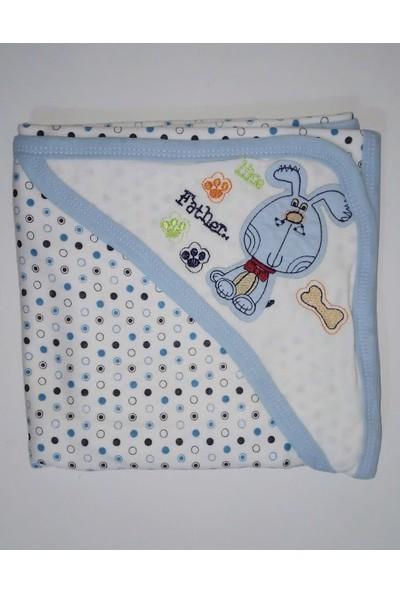 Beyzi Bebe Çift Katlı Başlıklı Pamuklu Penye Bebek Battaniyesi