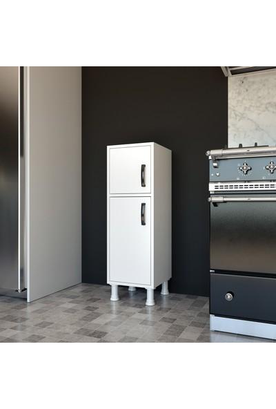 Rani F3 Çok Amaçlı Dolap 2 Kapaklı 4 Raflı Banyo Balkon Mutfak Dolabı Beyaz M1