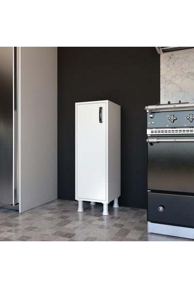 Rani F3 Çok Amaçlı Dolap Tek Kapaklı 3 Raflı Banyo Balkon Mutfak Dolabı Beyaz M3