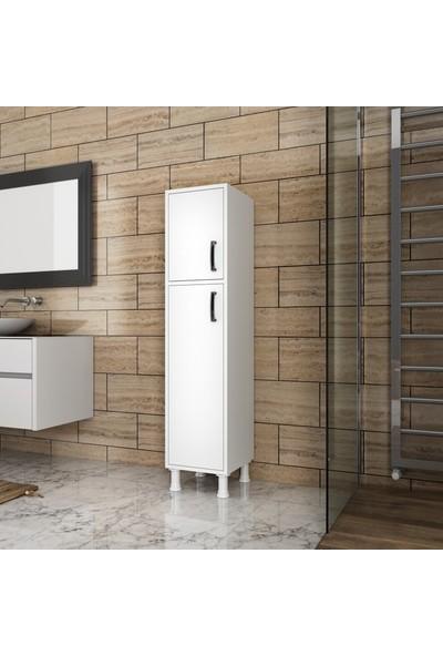 Rani F2 Çok Amaçlı Dolap 2 Kapaklı 5 Raflı Banyo Balkon Mutfak Dolabı Beyaz M1