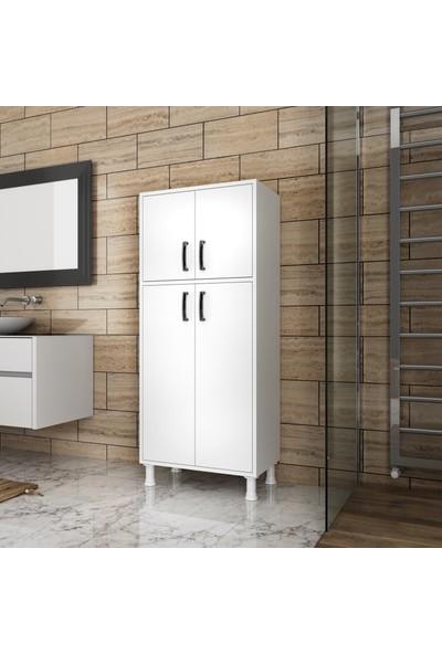 Rani F2 Çok Amaçlı Dolap 4 Kapaklı 5 Raflı Banyo Balkon Mutfak Dolabı Beyaz M4