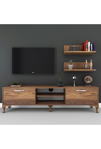 Rani A92 Duvar Raflı Kitaplıklı Tv Ünitesi Modern Ayaklı Tv Sehpası Ceviz M48