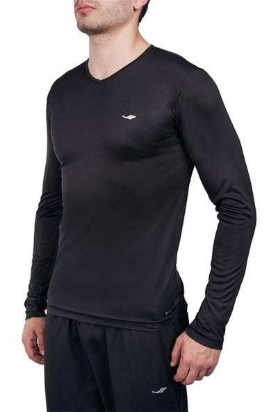 Lescon 19S-1223-19N Uzun Kolv Yaka Erkek T-Shirt Siyah
