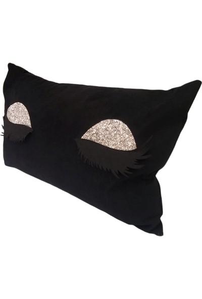 Gold Home Kirpikli Siyah Kırlent 35 x 55 cm