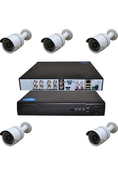 Elcam 5 Kameralı Güvenlik Kamera Seti 2mp, 8 Kanal Ahd Kayıt Cihazı