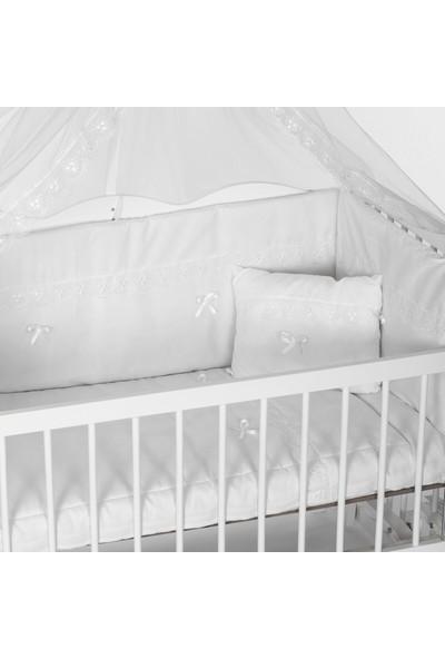 Bamgidoo Asya Ahşap Lake Beyaz 60 x 120 cm Beşik Anne Yanı Kademeli Beşik ve Beyaz Güpürlü Nevresim Takımı & Yatak