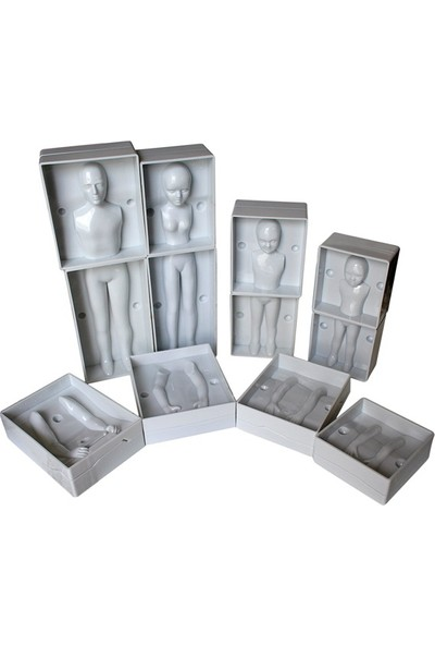 Plastik 3 Boyutlu Insan Kalıbı - 4'lü Aile Seti