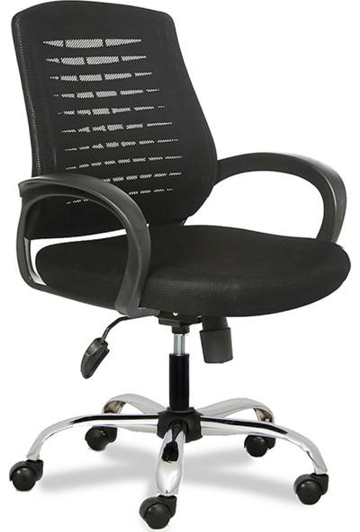 Büromotto Polen Ofis Koltuğu Metal Ayak Personel ve Çalışma Sandalyesi Bilgisayar Sandalyesi Siyah