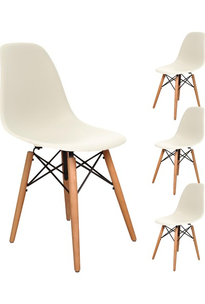 Büromotto Eames Mutfak Sandalyesi 4 Adet Beyaz
