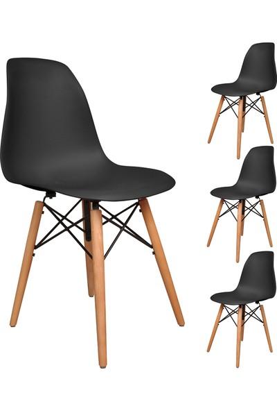 Büromotto Eames Mutfak Sandalyesi 4 Adet Siyah