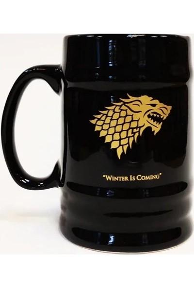 Epsilon Game Of Thrones Stark Altın Yaldızlı Siyah Büyük Kupa