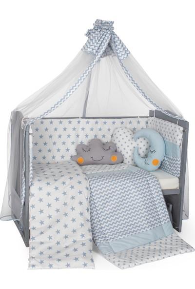 Carino Wins Lake Gri Ahşap Anne Yanı Sallanan Beşik + Erkek Bebek Uyku Seti + Yatak
