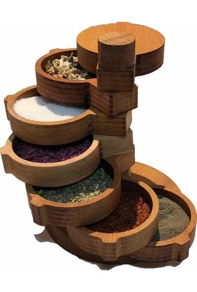Aherwood Bambu Ahşap Baharatlık Baharat Takımı Seti