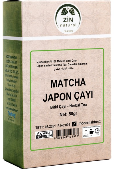 Doğal Matcha Çayı 50 gr (Japon Çayı) Saf Matcha Tozu Içerir