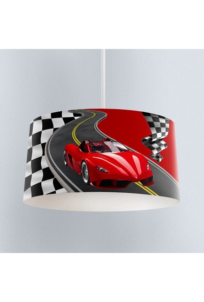 Else Kırmızı Yarışan Araba Erkek Çocuk Odası 3D Sarkıt Avize
