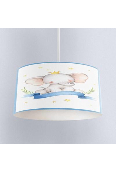 Else Mavi Filli Desenli Erkek Çocuk Bebek Odası 3D Sarkıt Avize