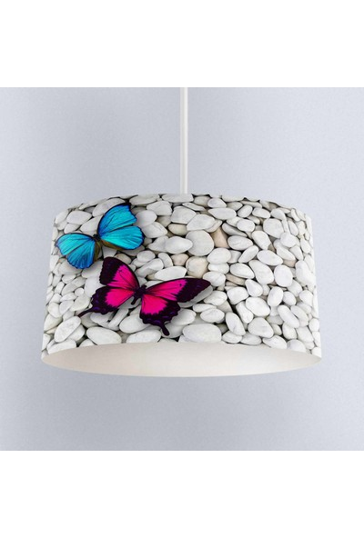 Else Mavi Pembe Kelebekli Desenli Kumaş Salon 3D Sarkıt Avize