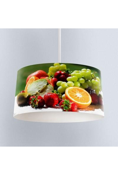 Else Renkli Meyveler Desenli Kumaş Mutfak 3D Sarkıt Avize