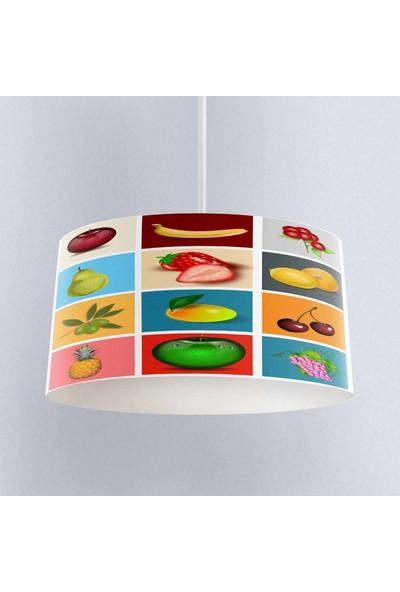 Else Renkli Meyveli Desenli Kumaş Mutfak 3D Sarkıt Avize