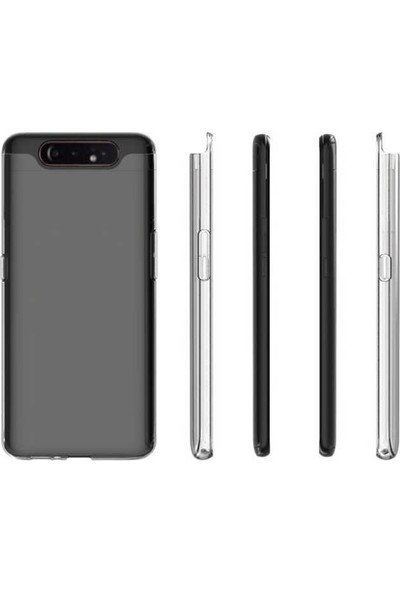 Case Street Samsung Galaxy A80 Kılıf Süper Sillikon Yumuşak Arka Koruma Şeffaf