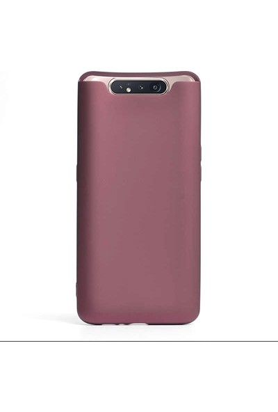 Gpack Samsung Galaxy A80 Kılıf Premier Silikon Esnek Koruma + Nano Glass Mürdüm