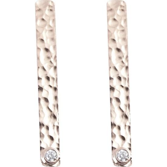 Estel Gümüş Dövme Çubuk Küpe
