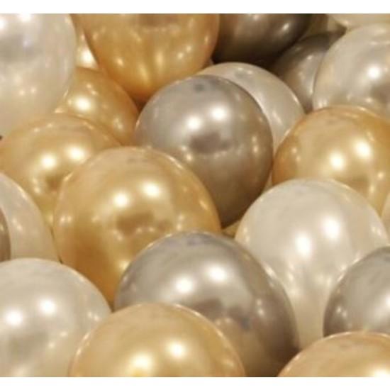 Balon Evi 50 Adet Metalik Kaliteli (Gold-Gümüş-Beyaz Karışık) Uçan Balon