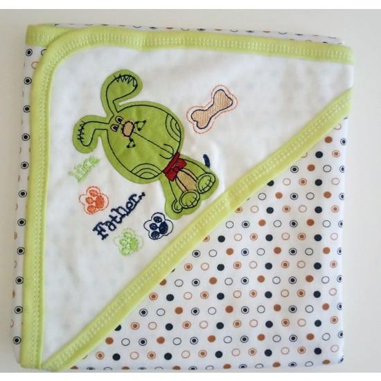 Beyzi Bebe Çift Kat Penye Nakışlı Şapkalı Bebek Battaniyesi Yeşil