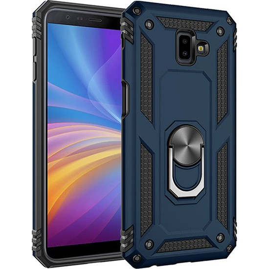 LionTech Samsung Galaxy J6 Plus Kılıf Zırh Koruma Yüzüklü Standlı Armor Silikon Kapak Mavi