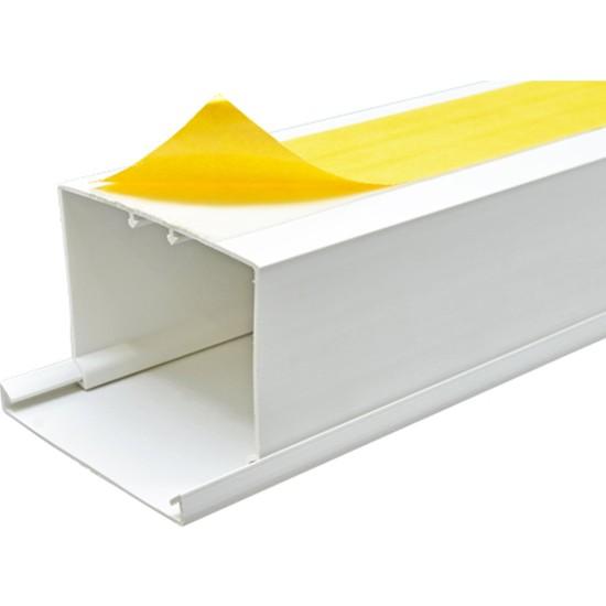 A Plus Elektrik 80x60 mm Güçlü Yapışkan Bantlı Beyaz 6x1,5m=9m Kablo Kanalı
