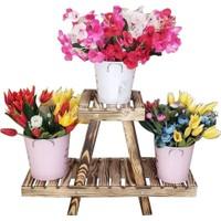 Full Ahşap Sehpa Saksılık Çiçek Standı Katlanır Ahşap