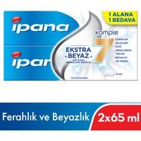 Ipana Komple Bakım Diş Macunu + Ferahlık ve Beyazlık Ağız Bakım Suyu 1 Alana 1 Bedava Paketi (65 ml + 65 ml)