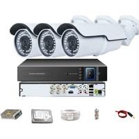 QROMAX PRO 742B 3' lü 5 Megapiksel SONY LENS 1080P Aptina Sensör Metal Kasa Güvenlik Kamerası Seti