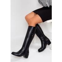 Tarçın Hakiki Deri Siyah Günlük Kadın Topuklu Çizme Trc101-2073