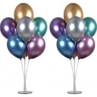 Balon Standı 7 Çubuklu 75 cm ve 7 Adet Metalik Balon