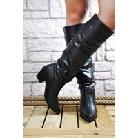 Noa Shoes Siyah Deri Kadın Çizme Topuklu Düz Günlük