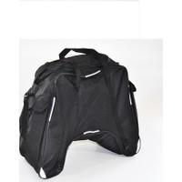 Carneil Motosiklet Arka Eşya Taşıyıcı Çanta Büyük Boy Su Geçirmez Siyah Reflektörlü Taşıma Askılı 3 Gözlü