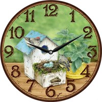 Zarif Ahşap Yuvarlak Dekoratif Kuşlu Duvar Saati 50 x 50 cm Uv Baskı
