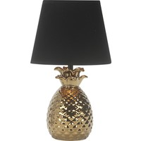 Wind Lighting Pine Seramik Abajur E14 On / Off Düğmeli 1,5 m Kablolu Altın Gövde Renk Siyah Şapkalı