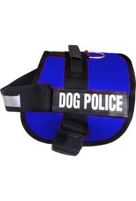 Ans Dog Police Köpek Göğüs Tasması 70 / 90 cm Mavi - Siyah