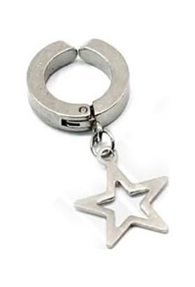 Madame Kuub Deliksiz Kulaklar İçin Sıkıştırmalı Unisex Çelik Küpe Yıldız Uçlu
