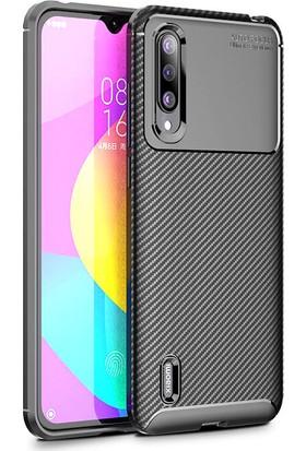 Happyshop Xiaomi Mi A3 Kılıf Karbon Desenli Negro Silikon + Cam Ekran Koruyucu Siyah