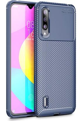 KNY Xiaomi Mi A3 Kılıf Karbon Desenli Lux Negro Silikon + Cam Ekran Koruyucu Lacivert